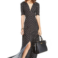 Black And White Dots Deep V-Neck Slit Maxi Dress
