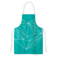 "Mareike Boehmer ""Heart Graphic Turquoise"" Teal Abstract Artistic Apron"