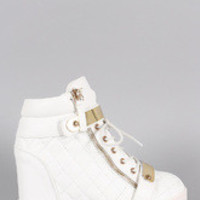 Women's Quilted High Top Wedge Sneaker