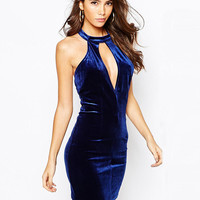 Blue Halterneck with Keyhole Backless Mini Dress