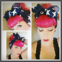 Stars on Navy Blue Vintage Style Chiffon Hair Scarf Headwrap Hair Bow 1940s 1950s Rockabilly - Pin Up - For Women, Teens Scarves