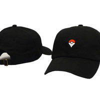 Black Embroidery Pokemon Go Pokeball Map Quest Icon Baseball Cap Hip Hop Women & Men Strapback Dad Hat