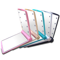 1pc Lady Makeup Cosmetic Folding Portable Compact Pocket Mirror 8 LED Lights Lamps