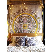 Yellow Mandala Tapestry  60x80in