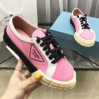 Bunchsun PRADA Popular Women Casual Canvas Sport Shoes Sneakers Pink