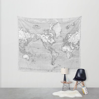 World Map Tapestry Wall hanging - vintage map, Grey and white, beautiful map, travel decor, wall decor atlas, den, bedroom, library