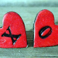 Black and Red XO Valentine Heart Post Earrings for by petalcove