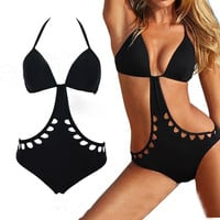 Sexy hollow out triangular one piece swimsuit