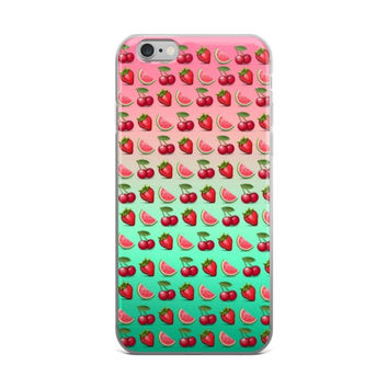 Cherry Strawberry & Watermelon Fruit Emoji Collage Teen Cute Girly Girls Tie Dye Pink & Turquoise iPhone 4 4s 5 5s 5C 6 6s 6 Plus 6s Plus 7 & 7 Plus Case