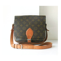Louis Vuitton Monogram Cartouchiere MM Vintage Shoulder Cross Handbag