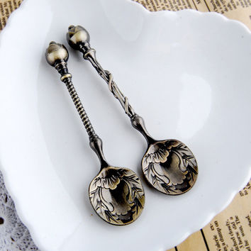 5 PC Vintage Coffee Spoon Carving Truncheon Retro Baton Tea Accessories Cooking Tools Coffee Maker For Cafetera Snacks Spoons