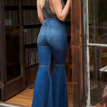 New Dark Blue Pockets Buttons High Waisted Mom Flare Vintage Bell Bottom Long Flare Jeans