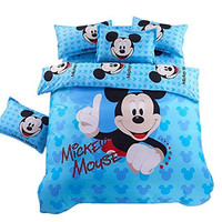 Upscale and Cute Mickey Mouse Printed Children 4-Piece Bedding Set-Sky Blue