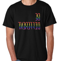 Men's T Shirt Be Different Gay Rainbow Pride Tee Shirt