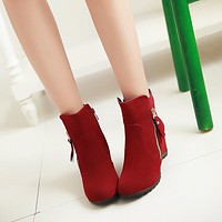 Zipper Ankle Boots Wedges Women Shoes Fall Winter 4320