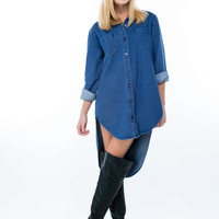 Oversized High-Low Denim Tunic GoJane.com