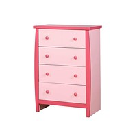 Four Drawer Wooden Chest with Round Pull Out Knobs, Pink -CM7651PK-C By Casagear Home