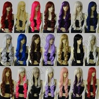 Synthetic heat resistant 32 in. long 80cm Spiral Curly cosplay wig Free Shipping