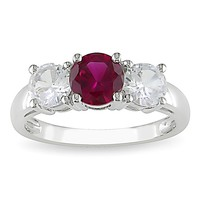 2 1/3 Carat Created White Sapphire & Created Ruby 3 Stone Ring in 10K White Gold