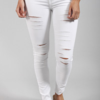 naomi high rise distressed denim - pure white