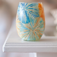 Tie Dye Fireworks Hand Painted Stemless Wine Glass, Candle Holder, Timbler