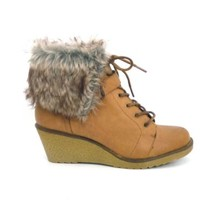 LADIES WOMENS FAUX LEATHER FUR ANKLE WEDGE LACE WINTER HEEL BOOTS SIZE
