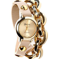 Times Table Wraparound Beige Leather Watch