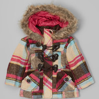 Pink Plaid Hooded Toggle Coat - Infant, Toddler & Girls