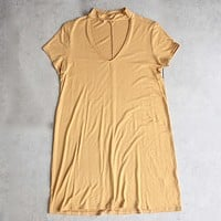 Final Sale - BSIC - Choker Mini Swing Dress in Mustard