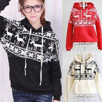 Autumn Women Lady Snow Deer Print Hoodie Coat Sweatshirt Tops Outwear = 1920173188