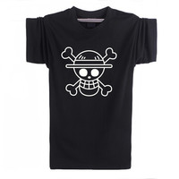 T Shirts Men One Piece Luffy Straw Hat