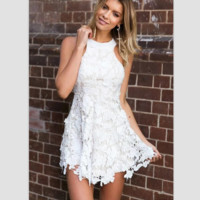 Hot sale Fashion Sexy off shoulder halter lace  hollow show thin dress