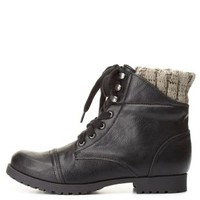 Qupid Sweater-Lined Combat Boots by Charlotte Russe - Black