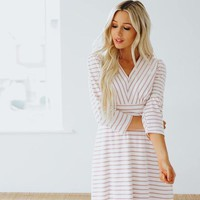 Janalee V-Neck Striped Dress
