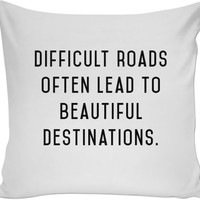 Difficult Roads- Throw Pillow Black and White
