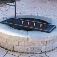 Black Heavy Duty Steel 32 Inch Rectangle Fire Pit Cooking Grill