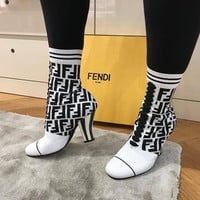 FENDI Logo-jacquard stretch-knit and mesh sock boots