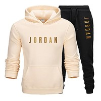 Men's Jordan 23 letter suit brand sportswear sportswear suit men's sports Hoodie + pants suit casual sportswear men's Hoodie