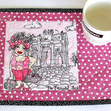 Quilted Mug Rug, Pink Mug Rug, Paris Holiday, Triumphal Arch, Snack Mat, Gift for Knitter, Quiltsy Handmade