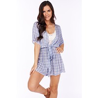 Nights Away Printed Tie Romper (Denim/Cream)