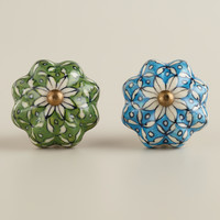 Turquoise and Green Ceramic Watermelon Knobs, Set of 2 - World Market