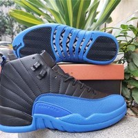 Air Jordan 12 Retro Black/royal Blue Basketball Shoes DCCK