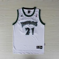 New Minnesota Timberwolves #21 Kevin Garnett Retro Basketball Jersey White