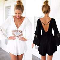 SIMPLE - Sexy Backless V Neck Romper a12077