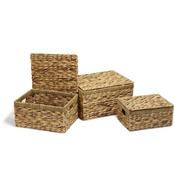 Set of 3 Lidded Seagrass Woven Baskets With Handles