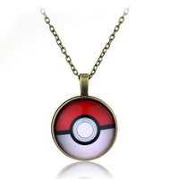 3 Colors Classical Anime Pokemon Ball Necklace Latest Fashion Jewelry Time Gem Necklaces For Men And Women