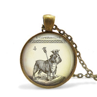 Bulldog Necklace Steampunk Alice In Wonderland Jewelry, Steampunk Dog Necklace Royal Dog Jewelry, English Bulldog Pendant, Wonderland Dog
