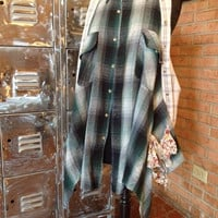 Flannel Shirt Shabby romantic duster boho vest upcycled lagenlook reconstructed - Plus Size