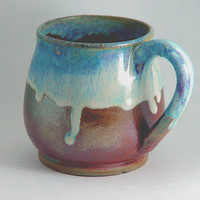 """Unique Coffee Mug \ Tea Cup Large Handled 10 ounce oz pottery, Light Sky Blue & Copper Color, """"Good Morning"""", Wheel Thrown Pottery ceramic"""