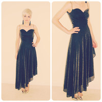 Vintage 60s 70s black GOLD metallic Cleopatra Egyptian goddess WATERFALL HEM maxi midi cocktail party evening dress skirt 20s 30s bias cut